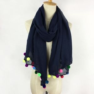 Summer Navy Pom Pom Scarf Swimsuit Cover up